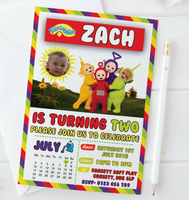 10 Personalised PHOTO Teletubbies CBeebies Invites Invitations Boy Girl Inc Envs