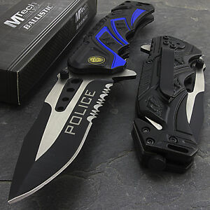 """7.5"""" MTECH USA POLICE RESCUE SPRING ASSISTED TACTICAL FOLDING POCKET KNIFE Open"""
