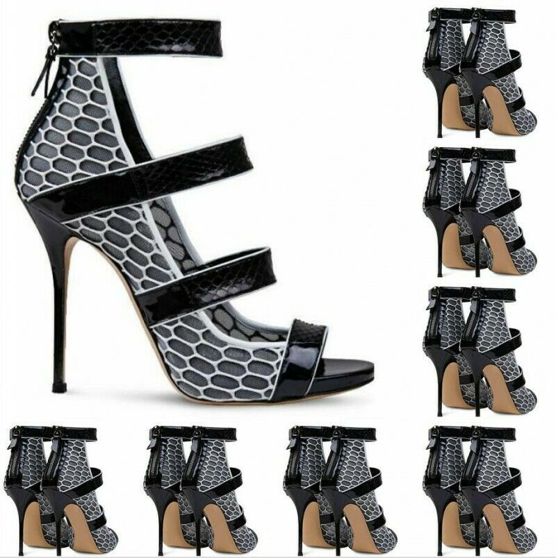 Vogue Peep Toe Women High Heels Evening shoes Ankle Strap Sexy Pumps Size 34-47