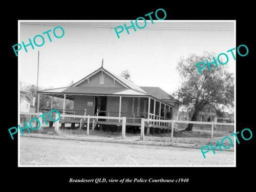 OLD 6 X 4 HISTORIC PHOTO OF BEAUDESERT QLD, VIEW OF THE POLICE COURT HOUSE c1940