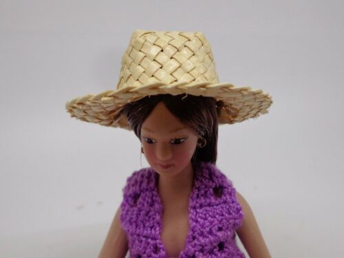 Échelle 1:12 paille tressée hat doll house Miniature Accessoire N