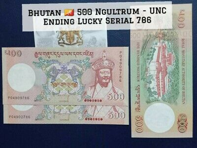 UNC with Lucky Serial 786 Bhutan 500 Ngultrum