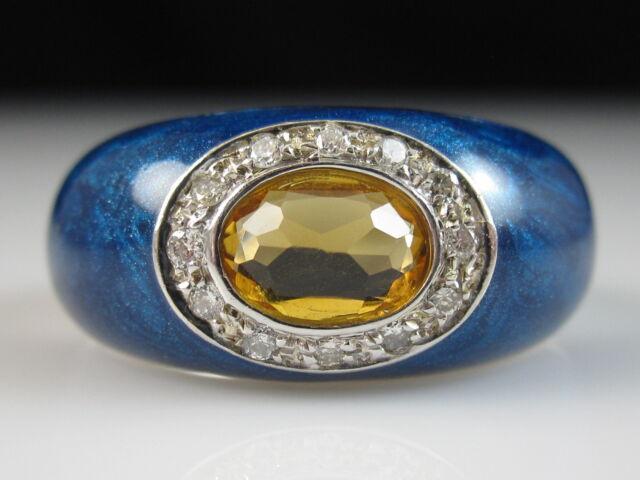 14K Citrine Diamond Ring Blue Enamel White Gold ITALY Fine Jewelry Size 7.5