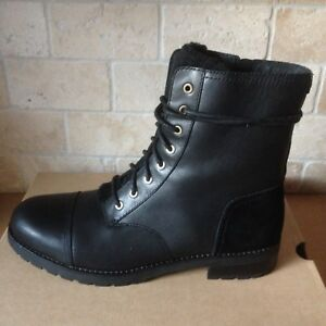 732051fbadc Details about UGG Kilmer Exposed Fur Black Water-resistant Leather Combat  Boots Size 8.5 Women