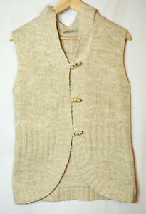 BEIGE-STONE-TWIST-KNITTED-WAISTCOAT-JUMPER-WITH-HOOD-SIZE-BHS-SIZE-14-CASUAL