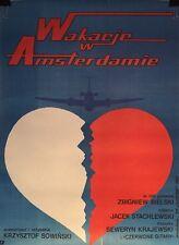 Poster Vintage polaco película/película 'Vacaciones en Amsterdam' 1985