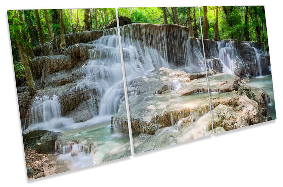 Beautiful Waterfall Landscape TREBLE CANVAS WALL ART Print Picture