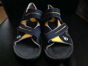 84e241e8bff24 Details about Youth/ men's Timberland walking sandals navy blue/yellow size  5