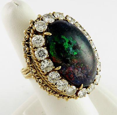 14k Yellow Gold Black Opal Estate Mid-Century Diamond Ring  | AW OIX