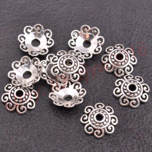 FREE SHIP 50Pcs Tibetan Silver Metal Flower Loose Spacer Beads Caps 6//8//10//12MM