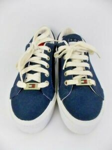 Tommy-Hilfiger-Slingback-Sneaker-Sandals-Navy-Blue-Canvas-White-Ladies-7M-UEC