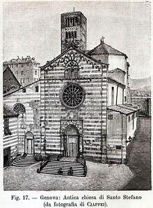 Dettagli su Genova: Chiesa di Santo Stefano. Liguria. Stampa Antica + Passepartout. 1892