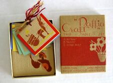 Vintage Raffia Bridge Card Game Tally Set Mint Condition Hand Made Hand Painted