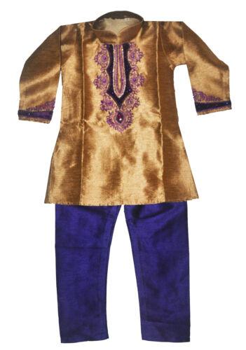 Boys/' Designer Kurta Set Indian Party Suit Clothing Gold and Purple