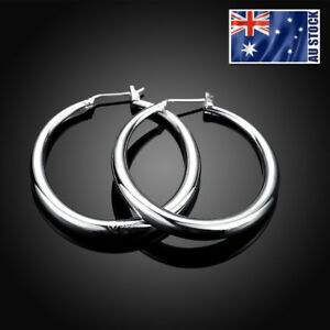 NEW-Stunning-Women-Girls-925-Sterling-Silver-Filled-34mm-Round-Hoop-Earrings