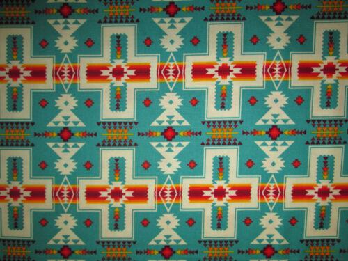 Navajo Indian Cross Turquoise Orange Print Cotton Fabric BTHY