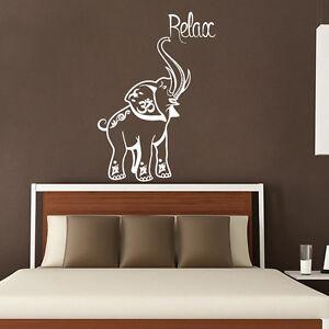Elephant Wall Decal Relax Vinyl Stickers Safari Decals Om Sign Bedroom Decor Ki2 Ebay