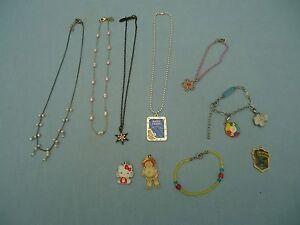10 Pcs Girls Jewelry Necklace Bracelet Charms Disney Thommassini Barbie Sanrio
