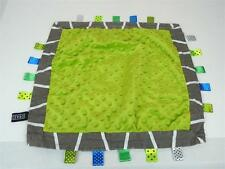 Crazze Tagz Lime Green Minky Blanket Ribbon Tags Lovey Security Gray Trim