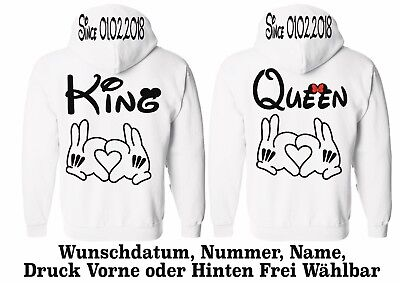 5XL One Love New Hoodie King Queen Motiv Pullover Partner Look Wunschname XS