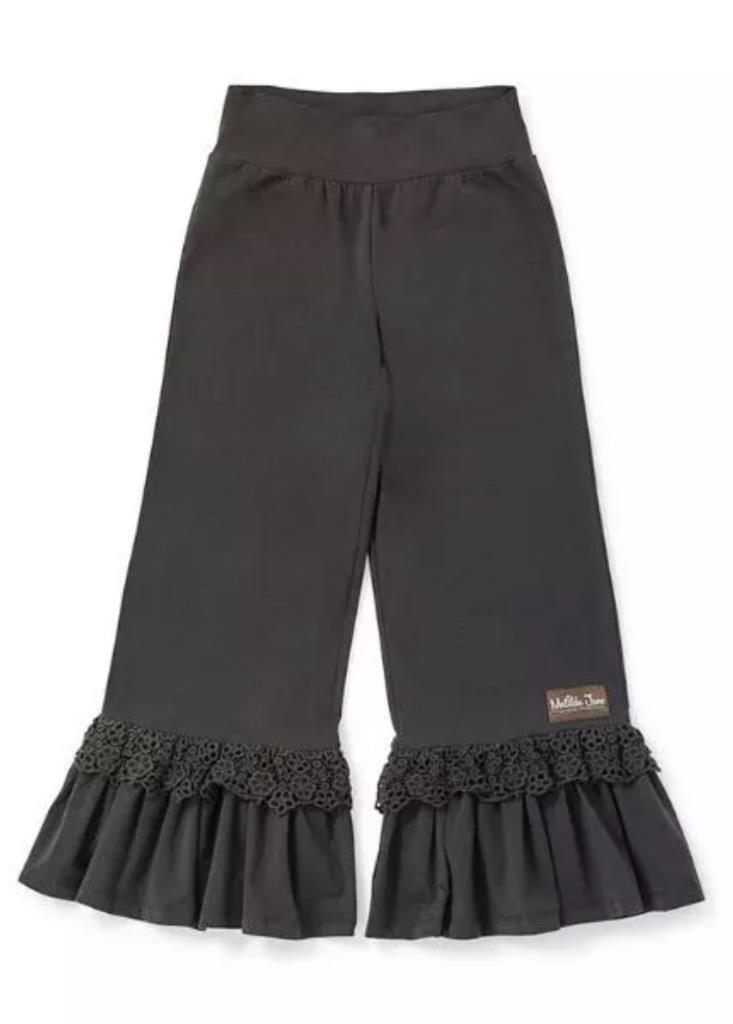Matilda Jane TRAIL RUNNER Big Ruffles Small S Women's Brown Capris Crochet NWT