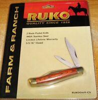 Ruko 2-blade Pocket Knife, 3-5/16-inch Closed Ruk0069-cs