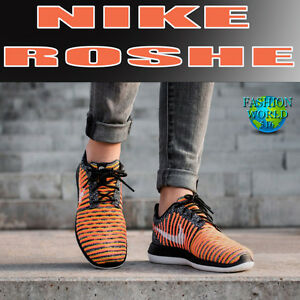 Details about Nike Women's Size 8 Roshe Two Flyknit Running Shoes Bright MangoBlack 844929