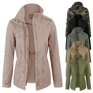 23a2dc47bd0 Women s Zip Up Military Anorak Safari Jacket with Pockets Coats S-3X ...