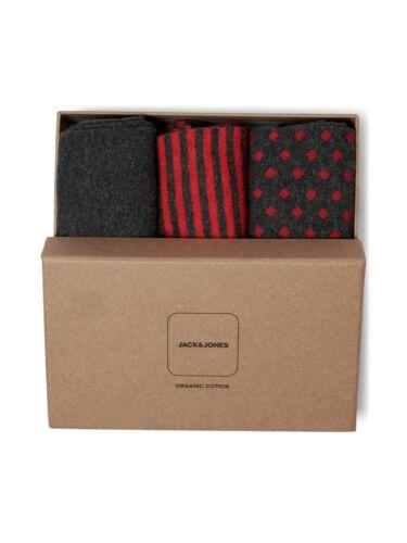Jack /& Jones Socks Gift Box JACOrganic Mens Cotton Blend Stripe Polka Dot Set