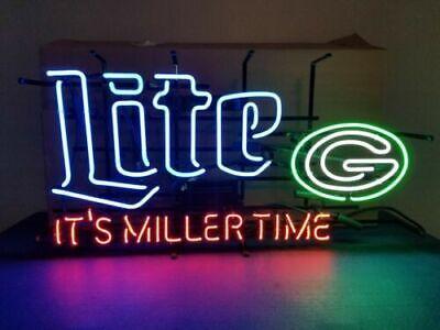"New Green Bay Packers Helmet Miller Lite Beer Bar Neon Light Sign 24/""x20/"""