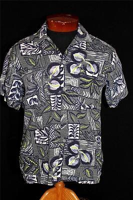 "Gerade Sehr Selten s "" Topflight Grau Blumen Waffel Baumwolle Hawaii Print"