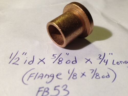 Bronze Flange Bushing 1//2 id x 5//8 od x3//4 oilite Brass Bearing Spacer Shim Bush