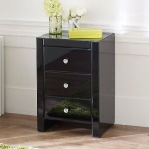 5dba7a1f8c42 Image is loading Black-Mirrored-Glass-3-Drawer-Bedside-Table-Bedroom-