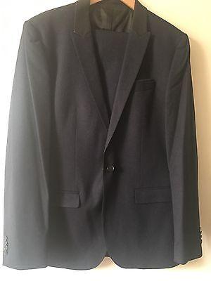 100% Vero Da Uomo River Island Blu Navy Suit Blazer 42 Pantaloni 34 Utilizzati In Finta Pelle Trim-mostra Il Titolo Originale