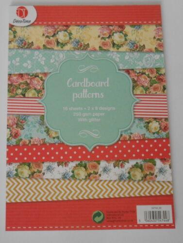 Almohadillas de tarjeta 16 Hojas Brillo 2 X 8 diseños de 14.8CM X 21CM PARA TARJETAS//MANUALIDADES Floral