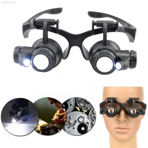 56DA 10//15//20//25X Juwelier Uhrmacher Lupe Brillenlupe Reparatur LED-Licht 8
