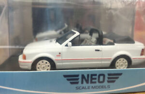 NEO-44956-FORD-ESCORT-Mk-4-CONVERTIBLE-model-road-car-white-body-1986-1-43rd