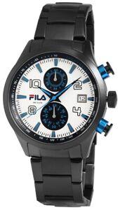 Fila-Herrenuhr-Silber-Blau-Schwarz-Chronograph-Datum-Edelstahl-Quarz-X38008003