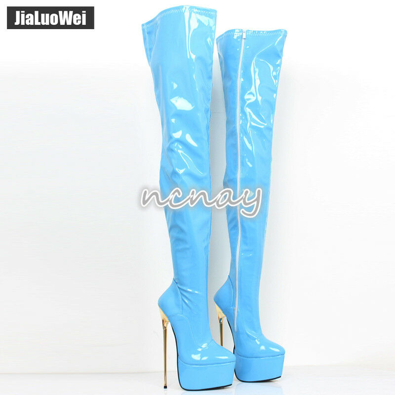 22CM Super High Metal Heel shoes Women Patent Leather Over Knee Thigh Club Boots