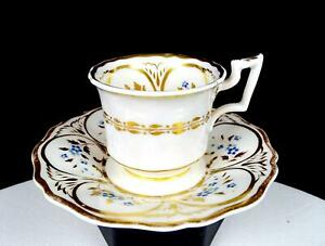 """H&R DANIEL ANTIQUE OLD ENGLISH ROYAL FLUTE GILDED 2 1/8"""" CUP & SAUCER 1822-46"""