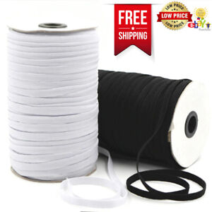 Black Flat Elastic Cord  10mm For Sewing Masks Clothing