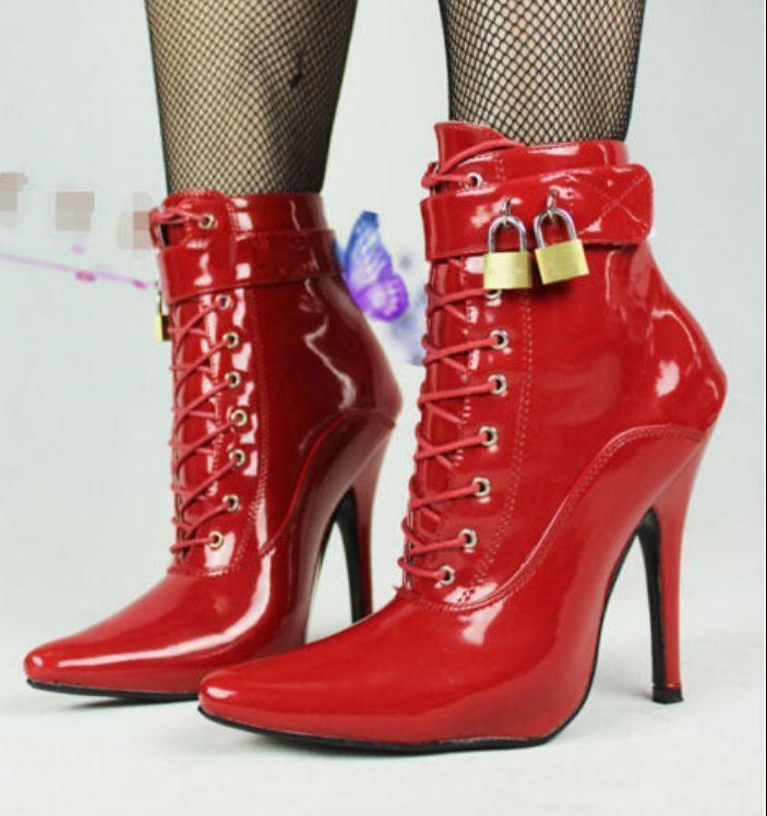Hebilla de bloqueo de 12CM de las Señoras Señoras Señoras Zapatos De Taco Alto Puntera en Punta Correa botas al Tobillo acordonadas  descuento