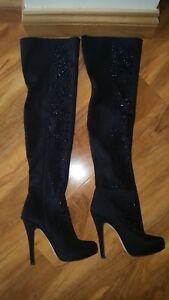 Black Shoes Size Beaded 5 Heels Knee Over Island The River Boots APX6q6