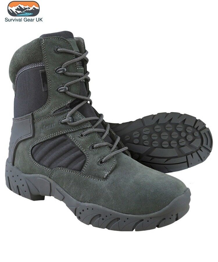 grau Tactical Pro Stiefel 50% Suede 50% Heavy Duty Nylon Side Zip Cadet Airsoft