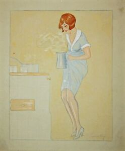 Art Deco Kitchen Housewife Cook Housewife 1920er 1920s Drafting Drawing Design