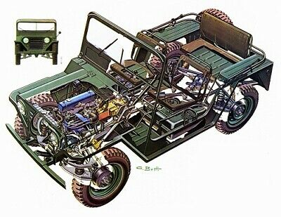 A3 Ford M151 Jeep US military Cutaway Drawing Wall Poster Art Picture Print
