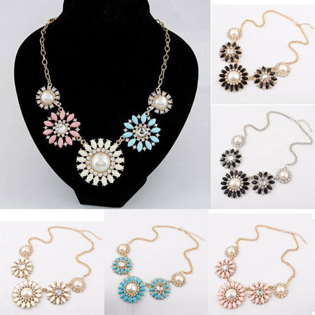 Fashion Jewelry Crystal Flower Pearl Chain Choker Chunky Statement Bib Necklace