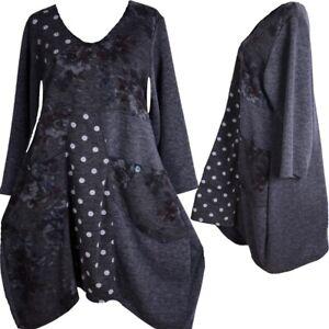 Designer LAGENLOOK Long Shirt Tunika Kleid schwarz  L-XL-XXL 40 42 44 46 48