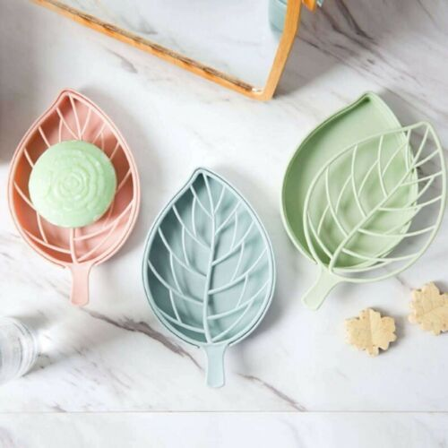 2pcs Double Layer Leaf Shape Soap Dispenser Dish Case Holder Container Bathroom