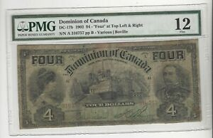 1902-Dominion-of-Canada-DC-17b-4-034-FOUR-034-Top-Left-amp-Right-SN-A-316757-PMG-F-12